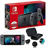 Newest Nintendo Switch with Gray Joy-Con - 6.2' Touchscreen LCD Display, 802.11AC WiFi, Bluetooth 4.1, 32GB of Internal Storage - Family Christmas Holiday Bundle - Gray - iPuzzle 3-in-1 Carrying Case