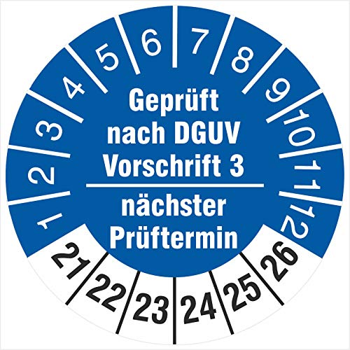 500 Prüfplaketten 30 mm geprüft nach DGUV Vorschrift 3 nächster Prüftermin 2021-2026 Prüfetiketten