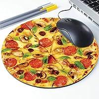 Pepperoni ピザマウスパッド チーズピザパターン 丸型 人間工学に基づいたマウスパッド ノンスリップゴム素材 オフィス デスク ゲーミング ホームスペース装飾 – 直径220mm