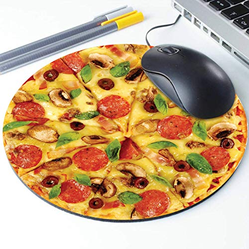 Pizza Mouse Pad, Pepperoni Cheesy Pizza Pattern Round Ergonomic Mouse Pad Non-Slip Rubber Material for Office Desk Gaming Home Space Decor - 220mm Diameter