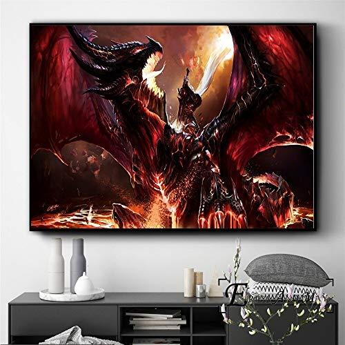 wZUN Gargoyle Monster Wow Game Posters e Impresiones Arte de la Pared Cuadros Vintage Lienzo Pintura decoración del hogar 60x90 Sin Marco