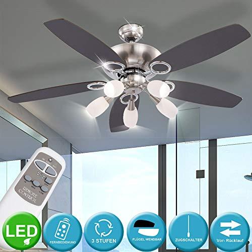 Luxus Decken Ventilator Wohnraum Lüfter Lampe im Set inklusive Fernbedienung und LED Leuchtmittel