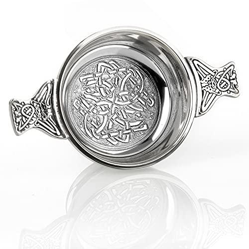 Eburya Celtic Circle - Schottischer Highland Whisky Quaich mit keltischen Ornamenten
