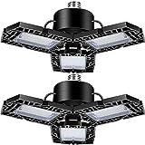 2-Pack 50W LED Garage Lights, LED Shop Light with 3 Adjustable Panels,5000LM Deformable Garage LED Light, 6500K Ultra Bright Triple Led Light for Garage Attic Basement, E26/E27 Base