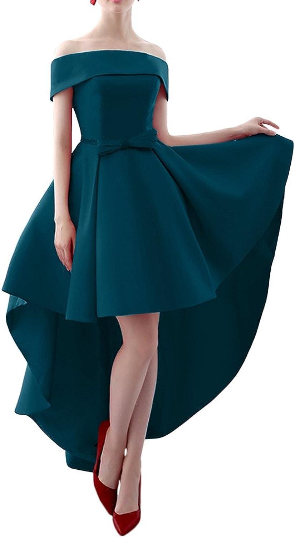 Avril Dress Satin Bateau HiLo Bowknot Cocktail Prom Dress LaceUp