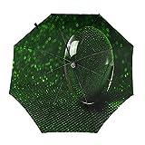 Diseño automático ligero compacto portátil del paraguas del viaje verde del espejo de la bola y alta resistencia al viento