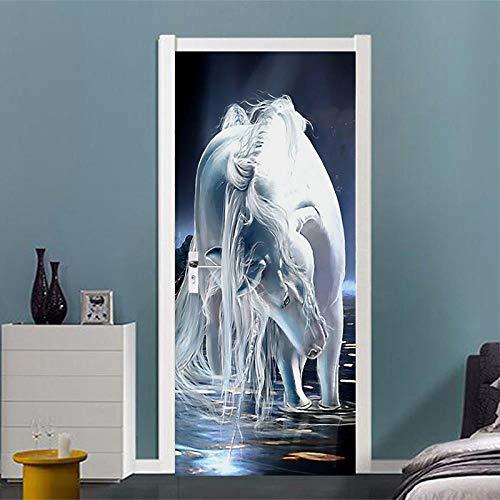 BXZGDJY 3D-deursticker, deurfolie, abstract paard 90 x 200 cm, deurbehang, zelfklevend deurposter, zelfklevende 3D-deur-raam-behang, verwijderbare deur-decoratie-plakaat muursticker voor doe-het-zelf