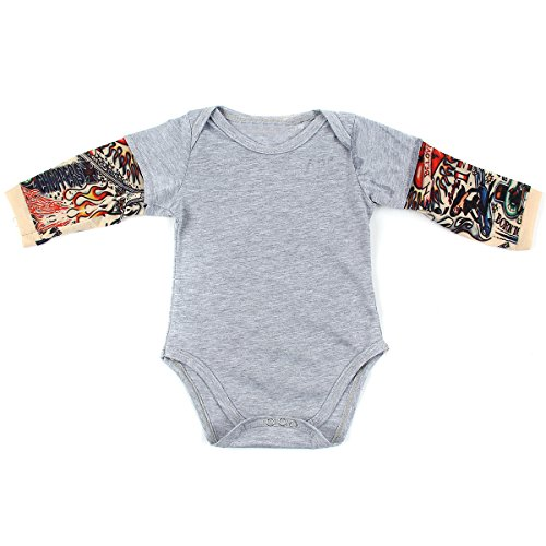 DaMohony Baby-Strampler für Neugeborene mit Tattoo-Ärmeln Unisex für 0-24 Monate Gr. 100 cm(18-24 Monate), grau