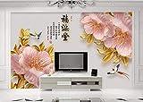 Fototapete 3D Geprägte Pfingstrosenblume Edle Goldlinie Vogel Wandbild Wandbilder Wohnzimmer Tapete Schlafzimmer