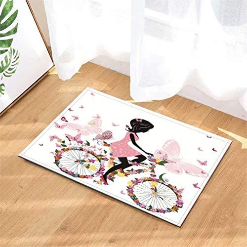 LoExTdAF Bicicleta Decorada con Flores. Niña. Alfombras De Puerta.Alfombra Interior.Ducha Alfombras De Entrada De Baño Alfombras Felpudo,Entradas De Piso,Felpudos Antideslizantes,40X60Cm.