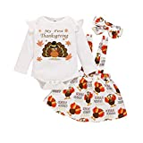 Infant Baby Girl Thanksgiving Outfit My First Thanksgiving Romper Turkey Suspender Skirt with Headband Clothes Sets(White,0-3 Months