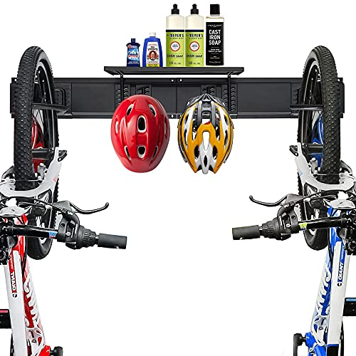 Wallmaster Wall Mount Bike Storage Rack With A Storage Shelf, Bike Rack Garage Wall Hangers Hooks For Bicycles & Helmets & Other Accessories