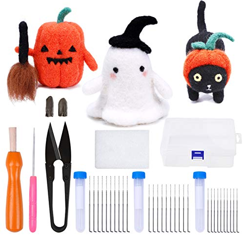 3 Packs Halloween Needle Felting Starter Kit with Instructions and DIY Needle Felting Supplies, Pumpkin, Ghost, Black cat - 3 in 1 Kit for Beginners