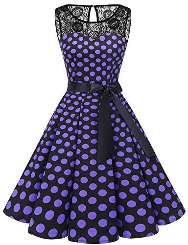 bbonlinedress 1950er Ärmellos Vintage Retro Spitzenkleid Rundhals Abendkleid Black Purple BDot L