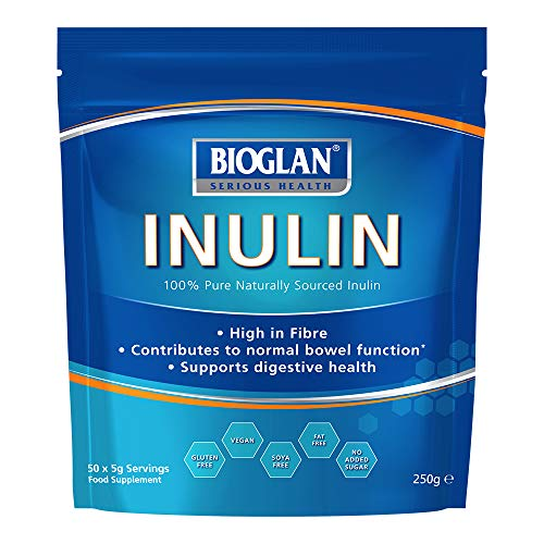 Bioglan Inulin, prebiotic Fibre supplement, from Chicory Root, Contributes to normal bowel function – 50 serves- 250g Pack