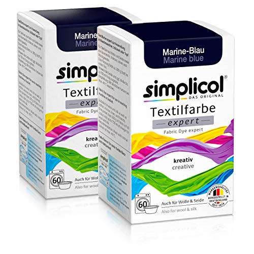 Simplicol Textilfarbe expert Marine-Blau 1708, 2er Pack: Farbe für kreatives, einfaches Färben in der Waschmaschine oder manuell