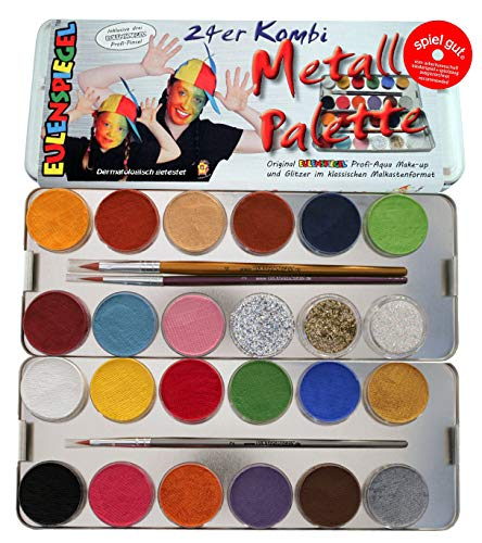 Eulenspiegel 224205 - Profi-Aqua Schminke, 21 Farben, 3 Glitzer, 3 Profi-Pinsel, Metall-Palette