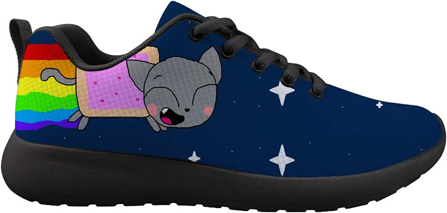Owaheson Cushioning Sneaker Trail Running shoes Mens Womens Rocket Rainbow Cat Collecting Stars
