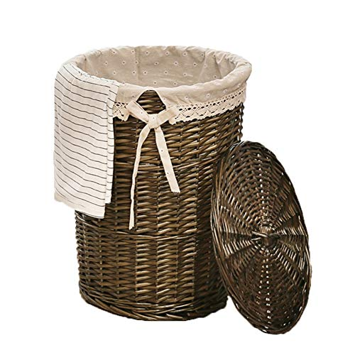 Heding Storage Basket Planting Wicker Oval With Lid Dirty Clothes Toy Durable Cotton Lining Hand Made,5 Colors (Color : D, Size : 35X43CM)