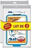 BIC Velleda - Pizarra escolar (doble cara, borrable en seco, 19 x 26 cm), con rotulador azul borrable en seco y borradores – Lote de 2
