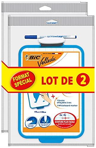 BIC Velleda - Pizarra escolar (doble cara, borrable en seco, 19 x 26 cm), con rotulador azul borrable en seco y borradores...