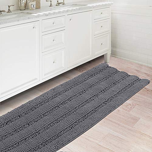 """Bath Rugs Ultra Thick and Soft Texture Bath Mat Chenille Plush Striped Floor Mats Hand Tufted Bath Rug with Non-Slip Backing Door Mat for Kitchen/Entryway (Gray - 47"""" x 17"""")"""