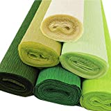 Just Artifacts 90g Premium Crepe Paper Roll, 8ft Length/20in Width (6pcs, Color: Greens)