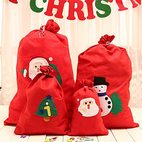 NBNBN Christmas Party Bag Non-woven Christmas Bag Large Medium and Small Santa Backpack Christmas Candy Bag Party Favors Festival Decoration (Color : Photo Color, Size : M)
