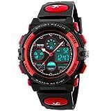 eYotto Kids Sports Watch Waterproof Boys Multi-Function Analog Digital Wristwatch LED Alarm Stopwatch Red