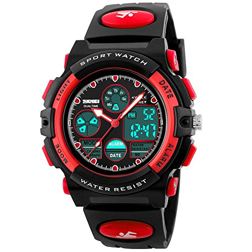 eYotto Kids Sports Watch Waterproof Boys Multi-Function Analog Digital Wristwatch LED Alarm Stopwatch Red