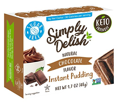 Simply Delish Natural Instant Chocolate Pudding - Sugar Free, Non GMO, Gluten Free, Fat Free, Vegan, Keto Friendly - 1.7 OZ (Pack of 6)