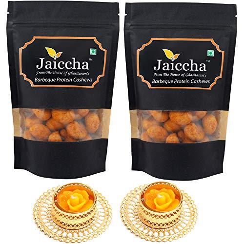 Jaiccha Ghasitaram Diwali Gifts Dryfruit - Barbeque Protein Cashews 400 GMS in Black Paper Pouch with 2 T-Lites