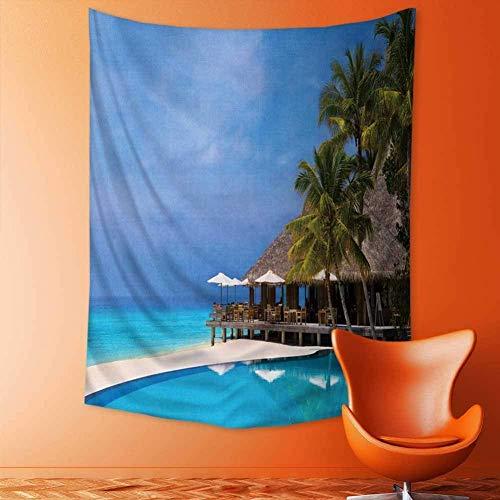Gudojk wandtapijt, decoratief tapijt van café en zwembad op een tropische strandreis-ondergrond, wandbehang voor slaapkamer, woonkamer, slaapzaal, 130 cm x 150 cm