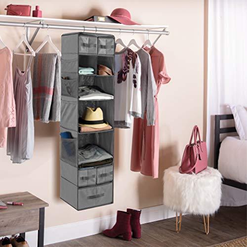 9 Shelf Hanging Closet Organizer with 5 Drawer Organizers, Baby Nursery Closet, Diaper Caddy Organizer, Slotted Storage Baskets, Hanging Drawers, Dorm Room Closet with Foldable Cube Storage Bins