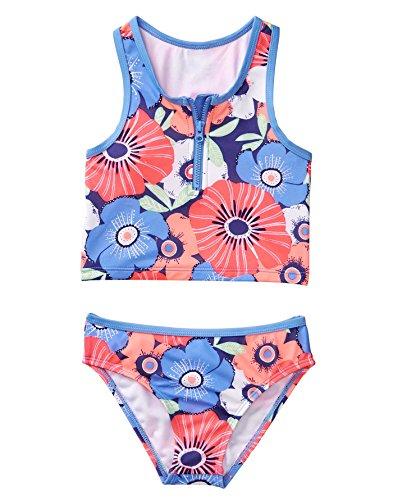 Gymboree Little Girls' 2-Piece Floral Swimsuit, Periwinkle Blooms, XL