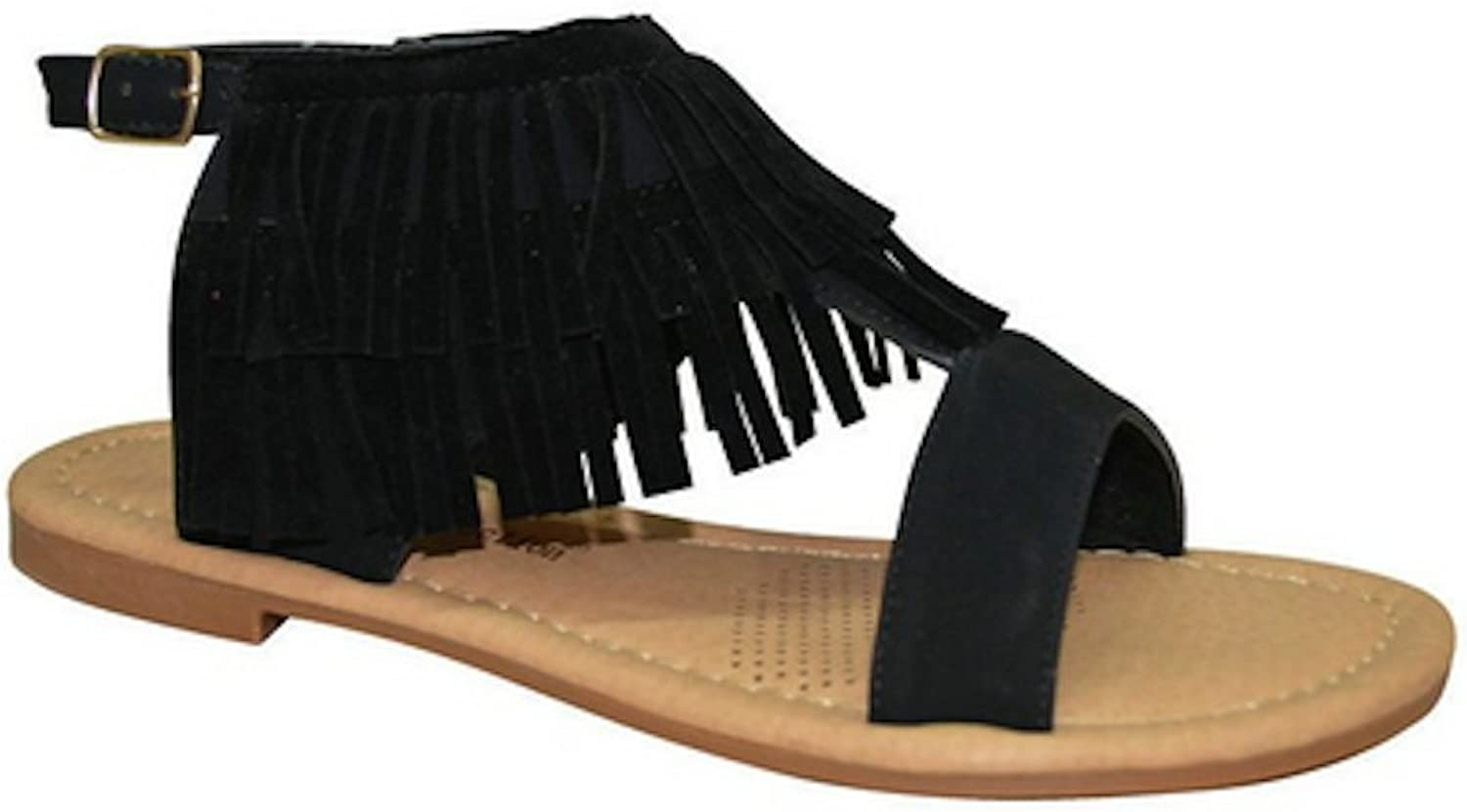 La Bella Fashion New Womens Strappy Buckle Fringe Moccasin Dress Sandals in Black, Nude