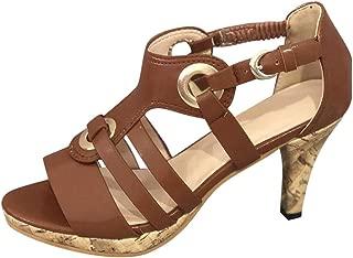 Women Retro High Heel Sandals Clearance Sale, NDGDA Ladies Elegant Buckle Strap Ankle Peep Toe Sandals Roman Shoes