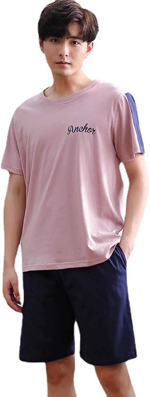 ML S HJDY Men Summer Cotton Short-Sleeved Shorts Pajamas Set Thin Section Home Suit Multi Mens Sleepwear Pajamas,Pink,XXL