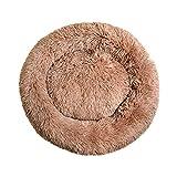 Banna Caseta para perros y gatos   Cama de peluche redonda/ligera/suave   para perro o gato pequeño/grande   Verano/invierno   disponible en 3 colores y 7 tamaños   (XL, marrón claro)