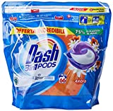 Dash Allin1 - Detergente para lavadora en cápsulas ámbar, tamaño maxi 2 x 66, 132 lavados