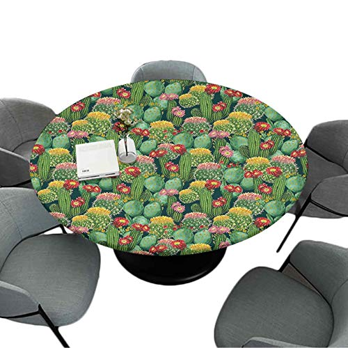 Elastic Edged Round Table-Cloth, 70 Inch Round Round Table Cloth Home Decor, Garden Flowers Cactus Texas Desert Botanic Various Plants with Spikes Pattern, Multicolor