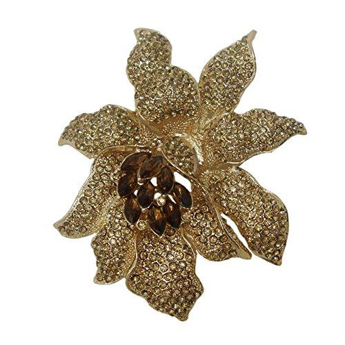 ttjewelry Classic Crystal Rhinestone grande flores orquídea broche pins Mujer Joyas b10461600
