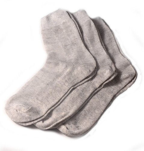 Finely Made Special Thin Breathable Organic Linen Socks for Men, Pack of 3 (11-13)