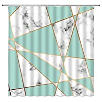 水彩花黒と白のストライプシャワーカーテン大理石の幾何学模様バスルームの装飾ホームバスタブ布カーテン - 180X200CM
