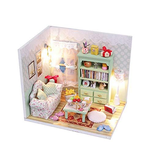 RainbowBeauty 1 Set Miniatur-DIY Haus Kit mit Fuiniture LED-Licht aus Holz Puppenhaus 3D Handmade Architekturmodell Holzhaus Spielzeug für Geburtstags-Geschenk-Grün