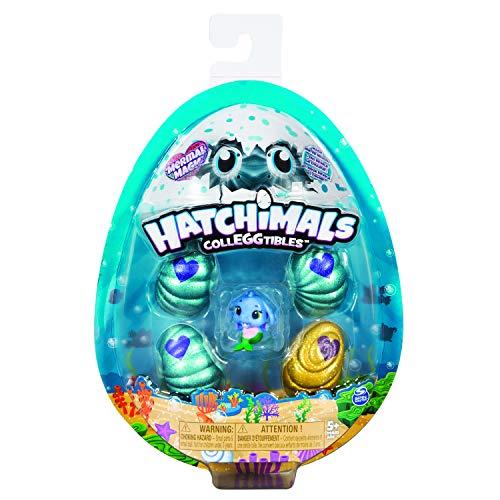 Hatchimals 6045522 - 4 CollEGGtibles Sammelfiguren im Ei Mermal Magic (S5), 4er - Pack + Bonusfigur