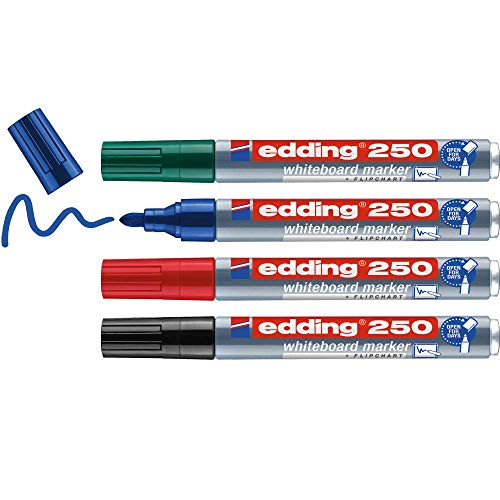 edding 250 Whiteboardmarker Set - bunte Farben - 4 Whiteboard Stifte - Rundspitze 1,5-3 mm - Boardmarker abwischbar - für Whiteboard, Flipchart, Magnettafel, Memoboard - Sketchnotes - nachfüllbar