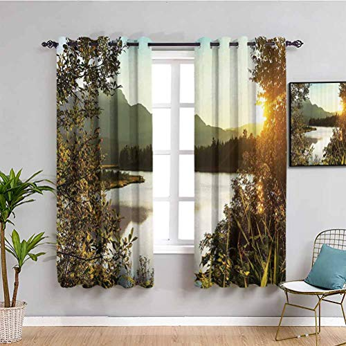 Nature Decor Thermal Insulated Room Darkening Curtains Sunset Scene on Lake Idyllic Relaxing Village Serene Outdoor Dask Landscape Repeatable use W72 x L63 Inch Green Yellow