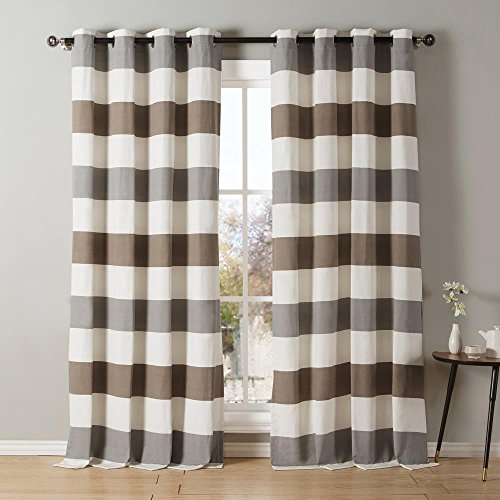Wide Stripe Cotton Blend Grommet Top Window Curtains $15.26 (55% Off)