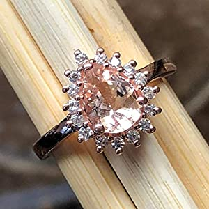 Natural Peach Morganite, 14k Rose Gold Over Sterling Silver Engagement Ring
